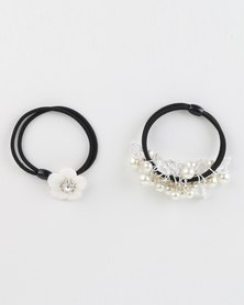 Jewels and Lace Rhinestone Hair Ties Set Pearl