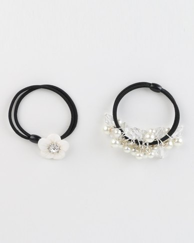 Jewels and Lace Rhinestone Hair Ties Set Pearl