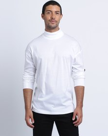 Birdi Double Mercerised Cotton Polo Neck White