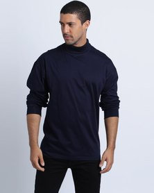Birdi Double Mercerized Cotton Polo Neck Navy