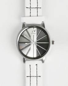 Joy Collectables Mens Watch With Stitching Strap White