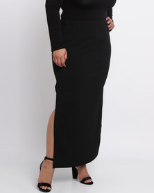 Utopia Plus Ribbed Ponti Maxi Skirt Black
