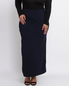 Utopia Plus Ribbed Ponti Maxi Skirt Navy