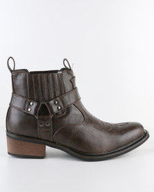 Zah Vintage Casual Ankle Boot Brown