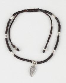 Desire Bracelet with Leaf Charm Brown