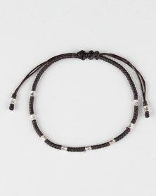 Desire Bead Detail Cord Bracelet Black