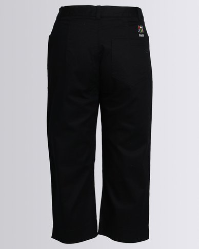 Birdi Ladies 100% Cotton Twill Capris Black