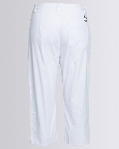 Birdi Ladies 100% Cotton Twill Capris White