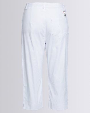 Birdi Ladies 100% Cotton Twill Capris White