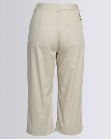 Birdi Ladies 100% Cotton Twill Capris Stone