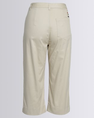 Birdi Ladies 100% Cotton Twill Capris Stone