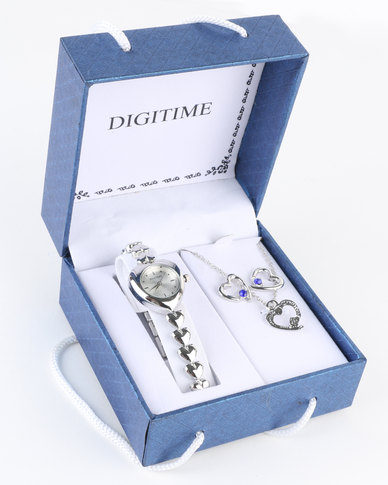 sc 1 st  Zando & Digitime Watch And Heart Jewellery Gift Set Blue Diamond   Zando