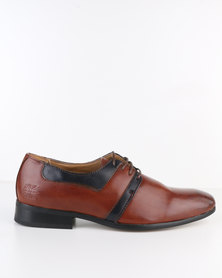 Paul of London Formal Lace Up Shoe Navy/Tan