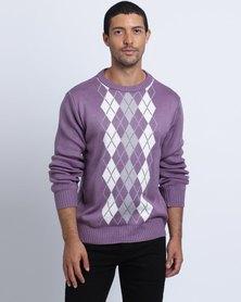 Birdi Men's Acrylic Round Neck Argyle Knitwear Jumper Lilac