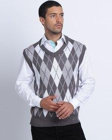 Birdi Acrylic V Neck Sleeveless Argyle Knitwear Jumper Grey