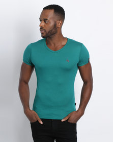 Soviet M Bolt Short Sleeve V Neck T-Shirt Jade