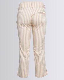 Birdi Ladies 100% Cotton Candy Striped Capris Cream