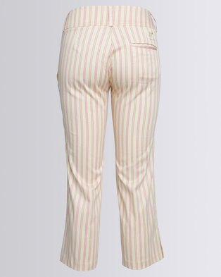 Birdi Ladies 100% Cotton Candy Striped Capris Cream