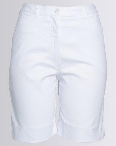 Birdi Ladies 100% Cotton Twill Bermuda Shorts White
