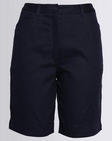 Birdi Ladies 100% Cotton Twill Bermuda Shorts Navy
