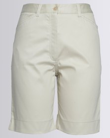 Birdi Ladies 100% Cotton Twill Bermuda Shorts Stone