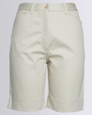 Birdi Ladies 100% Cotton Twill Bermuda Shorts Stone