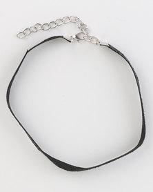 Jewels and Lace Lurex Glitter Choker Black