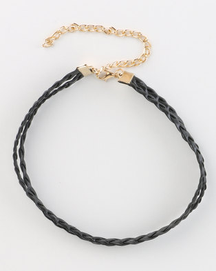 Jewels and Lace Plaited Choker Black