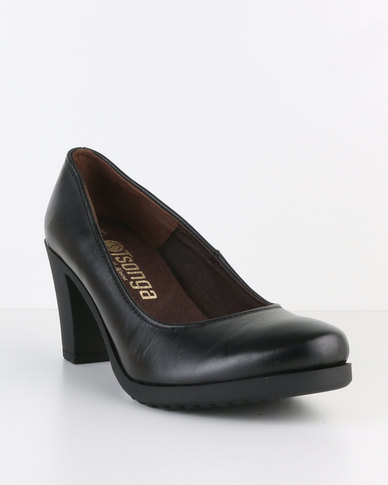 Ta Shumeka 002 Leather Mid Heel Court Shoe Black