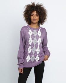 Birdi Ladies Acrylic Round Neck Argyle Knitwear Jumper Lilac