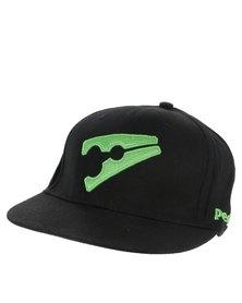 Peg Baseball Flat Cap Black and Green