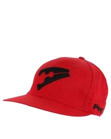 Peg Baseball Flat Cap Red and Black
