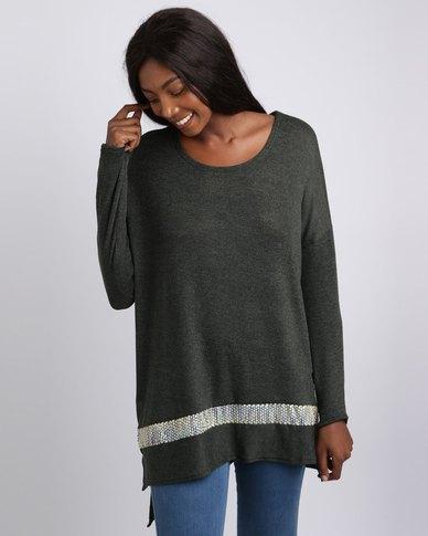 UB Creative Knit Sequin Jersey Green
