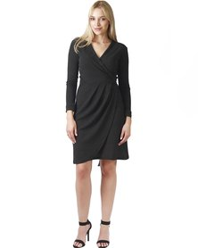 Jatine Chelsea Wrap Dress Black and White Polka Dot