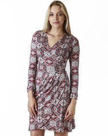 Jatine Chelsea Wrap Dress Navy and Pink Print