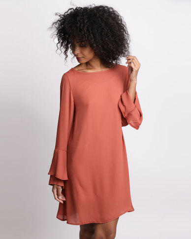 Utopia Bell Sleeve Georgette Dress Rust