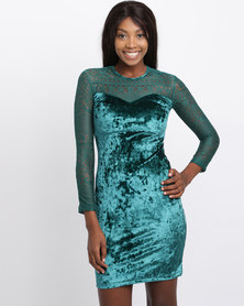 Utopia  Velvet and Lace Sweetheart Dress Emerald