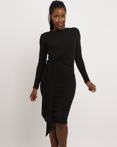Utopia Long Sleeve Tie Front Dress Black