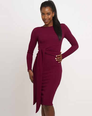 Utopia Long Sleeve Tie Front Dress Burgundy