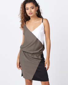 Brava Colour Block Slip Dress Olive Green
