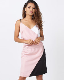 Brava Colour Block Slip Dress Dusky Pink