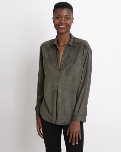 Game of Threads Suede V-Neck Double Back Panel Blouse Olive Green