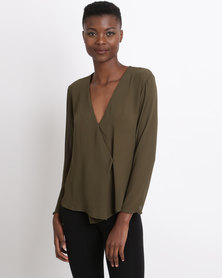 Game of Threads Chiffon  Cross Over with Drape Blouse Khaki