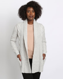 New Look Cable Knit Cardigan Light Grey