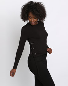 New Look Eyelet Trim Side Jumper Black