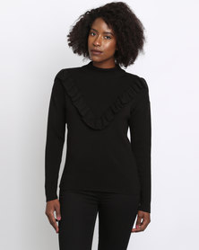 New Look Frill Trim Jumper Black