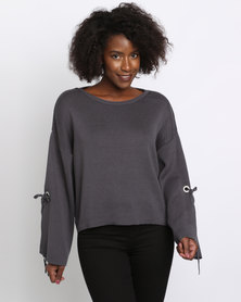 New Look Wide Split Sleeve Jumper Dark Grey