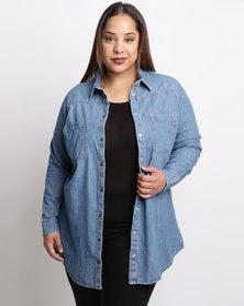 New Look Curves Long Sleeve Denim Shirt Blue