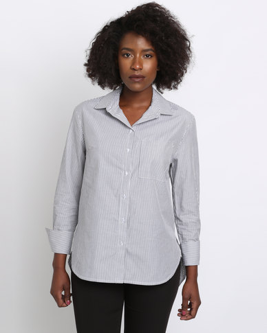 New Look Wide Cuff Stripe Shirt Grey