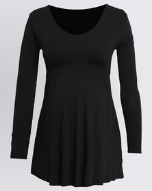 Cherry Melon Smock Detail Top Black